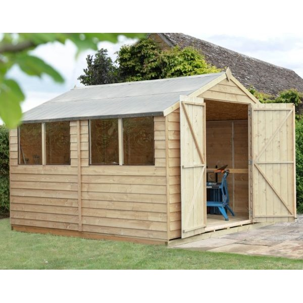 Overlap Pressure Treated 10 x 10 Apex Double Door Shed