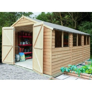 Overlap Pressure Treated 10 x 15 Apex Double Door Shed