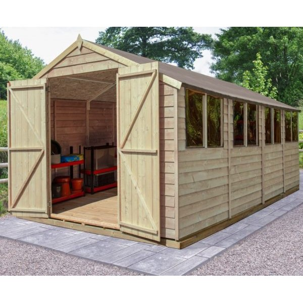 Overlap Pressure Treated 10 x 20 Apex Double Door Shed