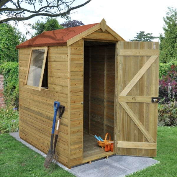 Tongue And Groove Pressure Treated 4 x 6 Apex Shed