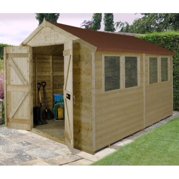 Tongue And Groove Pressure Treated 8 x 10 Apex Double Door Shed