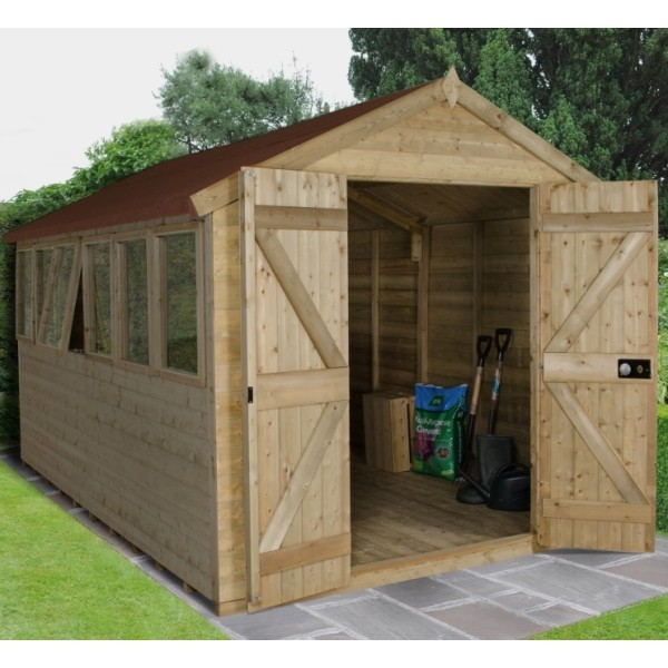 Tongue And Groove Pressure Treated 8 x 12 Apex Double Door Shed