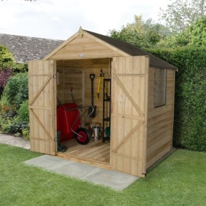 Overlap Pressure Treated 7 x 5 Apex Double Door Shed