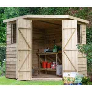 Overlap Pressure Treated 7 x 7 Pent Double Door Corner Shed