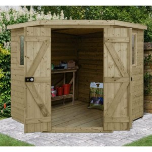 Tongue And Groove Pressure Treated 7 x 7 Corner Shed