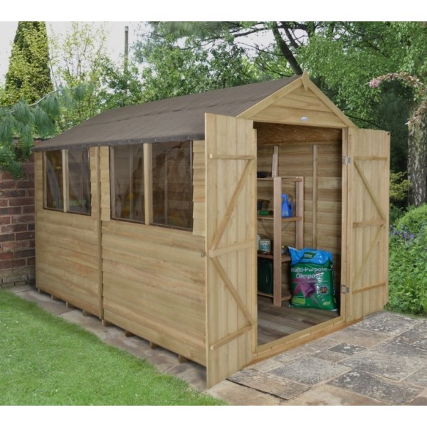 Overlap Pressure Treated 8 x 10 Apex Double Door Shed