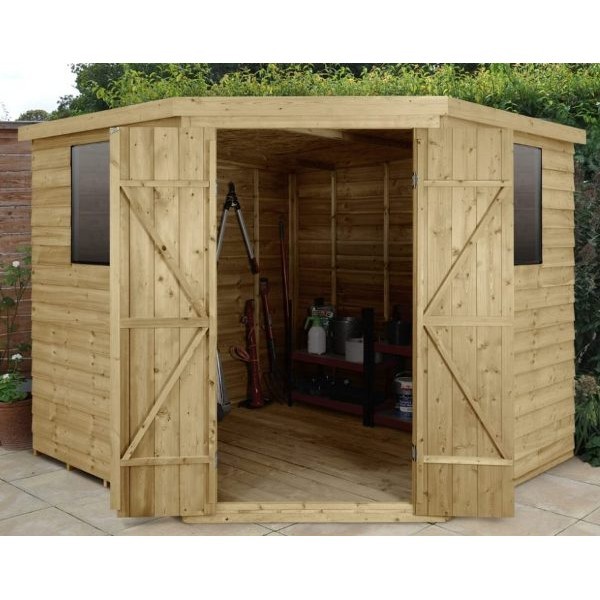 Overlap Pressure Treated 8 x 8 Pent Double Door Corner Shed