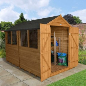 Overlap Dip Treated 8 x 10 Apex Double Door Shed