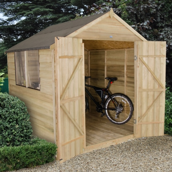 Overlap Pressure Treated 7 x 7 Apex Double Door Shed