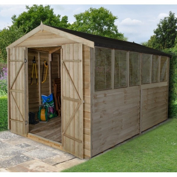 Overlap Pressure Treated 8 x 12 Apex Double Door Shed