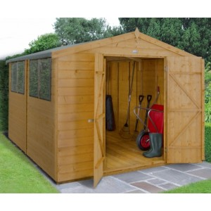 Shiplap Dip Treated 8 x 10 Apex Double Door Shed