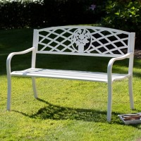 Antique White Garden Bench