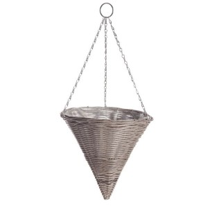 Rattan Effect Cone Shaped Hanging Basket