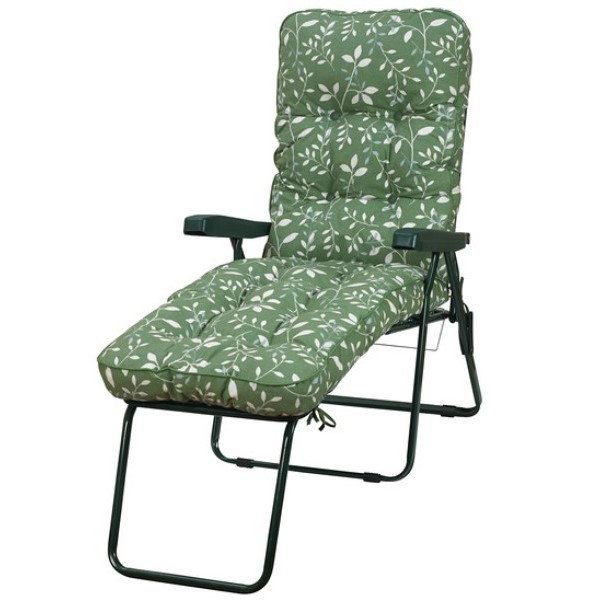 Country Green Padded Sun Lounger