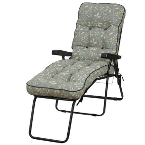 Country Teal Padded Sun Lounger