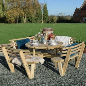 Round Picnic Bench with Backrests