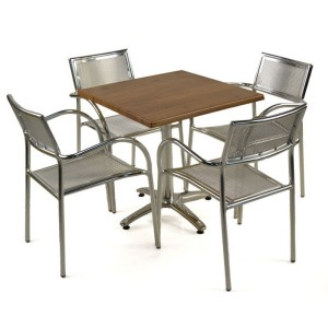 Aluminium & Cherry Patio Set