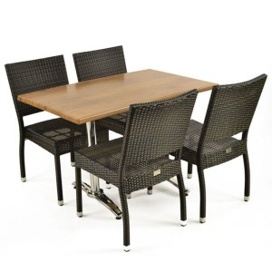 Rectangular Rattan & Cherry Patio Set
