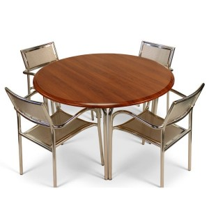 Round Aluminium & Cherry Patio Set