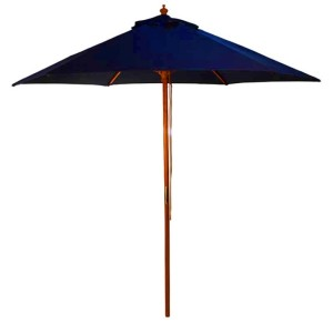 2.5m Wood Pulley Parasol - Dark Blue
