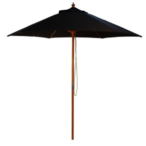 2.5m Wood Pulley Parasol - Black
