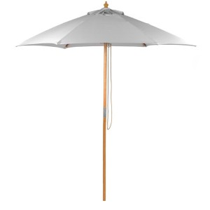 2.5m Wood Pulley Parasol - Light Grey