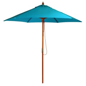 2.5m Wood Pulley Parasol - Light Blue