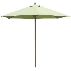 2.5m Wood Pulley Parasol - Light Green