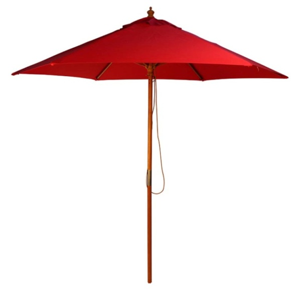 2.5m Wood Pulley Parasol - Red