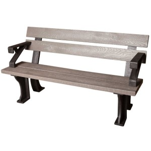Recycled Plastic Bench with Arms
