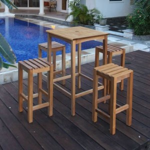 Teak High Table and Bar Stool Set