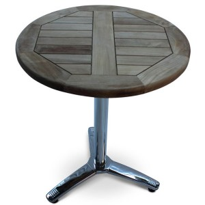 60cm Round Teak and Aluminium Table
