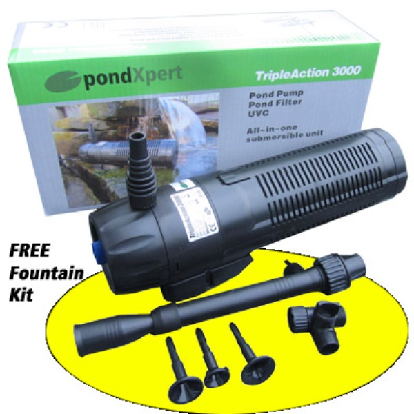 Triple Action 3000 Pond Pump, Filter and UVC