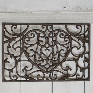 Cast Iron Doormat with Heart Design