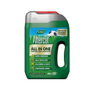 Aftercut All In One Lawn Weed Feed & Moss Killer 80m2