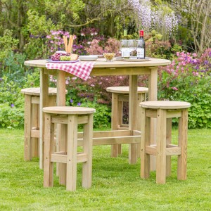 Bahama Oval Table & 4 Stool Patio Set