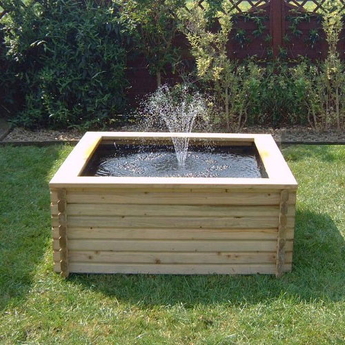 Square raised self contained wooden pond kits for Diy pond liner ideas
