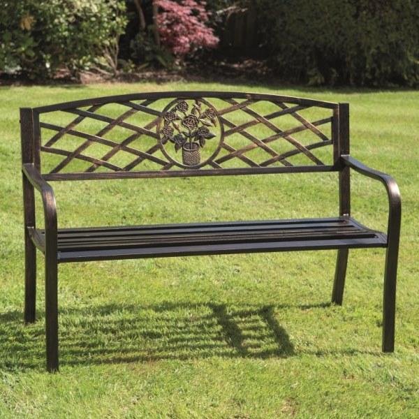 Coalbrookdale Bronze Garden Bench, Kensington Cast Aluminium 2 Seater Garden Bench