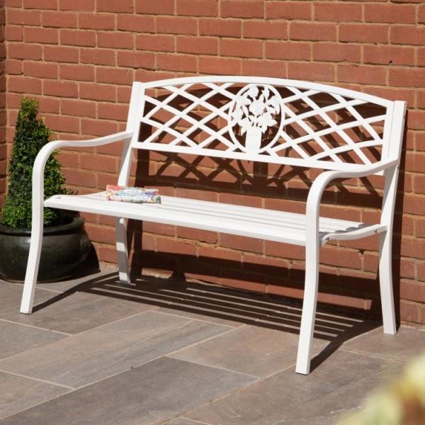 Coalbrookdale White Garden Bench, Kensington Cast Aluminium 2 Seater Garden Bench